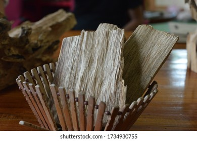 Rayong,Thailand - SEP 25, 2018:Close Up Macro Shot Of Sticks Of Agar Wood Or Agarwood Isolated On Black Background The Incense Chips Used By Burning It Or For Arabian Oud Oils Or Bakhoor