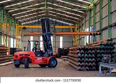 RAYONG-THAILAND-APRIL 9 : The transportation forklift at steel factory, April, 9, 2018, Rayong Province, Thailand.