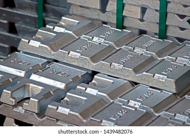 RAYONG-THAILAND-APRIL 9 : The Zinc ingot raw material of Hot-dip galvanized steel member for steel tower in transmission line at steel factory, April 9, 2018 Rayong, Thailand