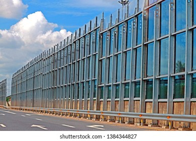 RAYONG-THAILAND-AUGUST 19 : The texture of concrete overpass & steel barrier on the highway, August 19, 2017, Rayong Province, Thailand