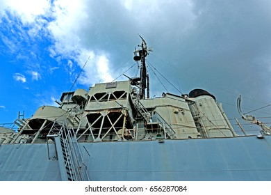 RAYONG-THAILAND-AUGUST 23 : A part of old Thai Frigate warship on blue sky on August 23, 2015 Rayong Province, Thailand