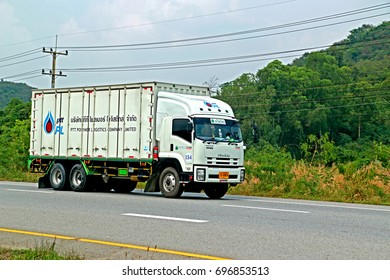 RAYONG-THAILAND-FEBRUARY 18 : The transportation truck on the road, February 18, 2016 Rayong Province, Thailand.