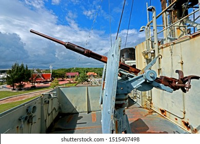 RAYONG-THAILAND-OCTOBER 10 : Detail of the Pra-sa Old Warship Museum near the sea in local town, October 10, 2015 Rayong Province, Thailand