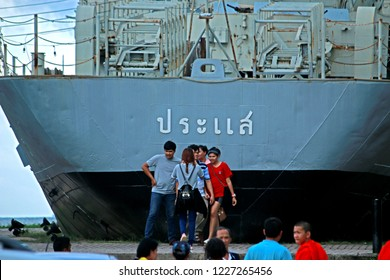 RAYONG-THAILAND-OCTOBER 11 : The Battleship decommissioned near the sea, October 11, 2015 Rayong Province, Thailand