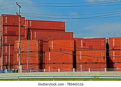 RAYONG-THAILAND-OCTOBER 14 :  The container store near the road, October 14, 2016 Rayong Province, Thailand