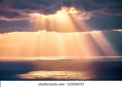 Rays of light after storm, seascape photography.