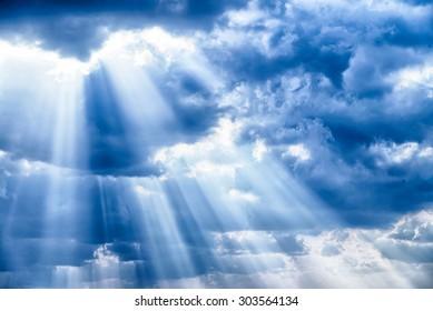 Rays of light shining down