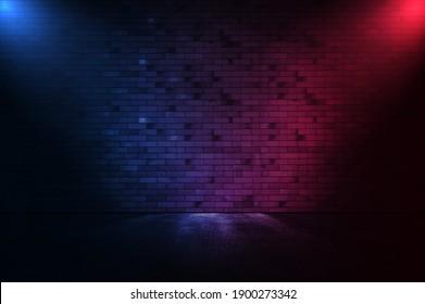 Rays neon light in the dark. Empty background scene  spotlight. Copy space
