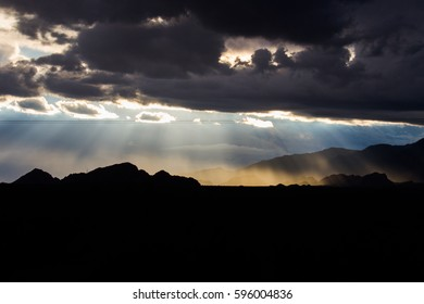 Rays of sun in the mountains