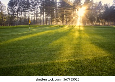 The rays of the sun on the golf course