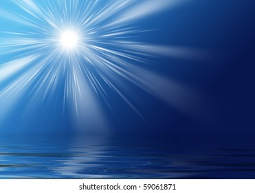 The rays of the sun over the ocean