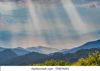 Rays of Sun Shine Over the Blue Ridge Mountains in North Carolina