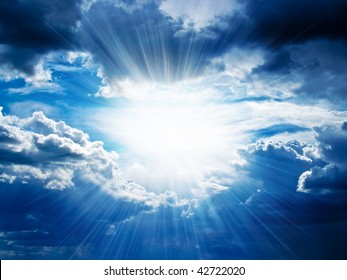 Rays of sunshine breaks through the dark clouds. Concept of hope for the best, mood changes, enthusiasm, optimism, faith in our own strength, the breakthrough goal