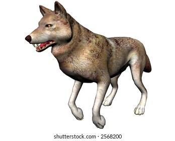 A ray-traced wolf rendered with Bryce 6