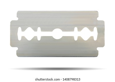 The razor blade for shaving or hair is made of a clean, safe stainless steel material isolated on white background. This has clipping path.