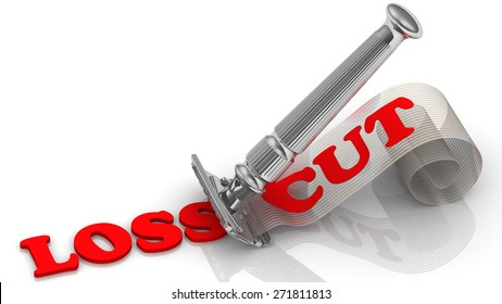 """Razor cuts the word """"LOSS"""". On shavings word """"CUT"""". The concept of loss reduction."""