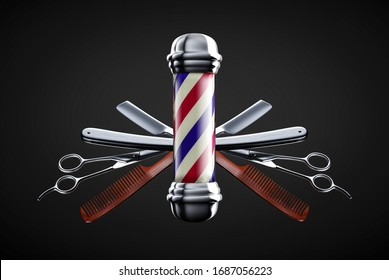 Razor, scissor and comb with pole emblem background concept. Barbershop background concept. - Shutterstock ID 1687056223