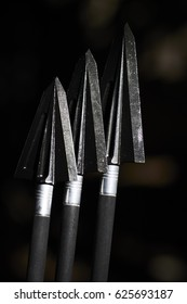 Razor sharp tradiotnal two blade broadheads made from surgical steel that used for bow hunting purposes on the tips of carbon arrows (Shallow DOF)