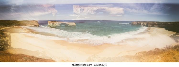 Razorback lookout panorama along Great Ocean Road, Australia.