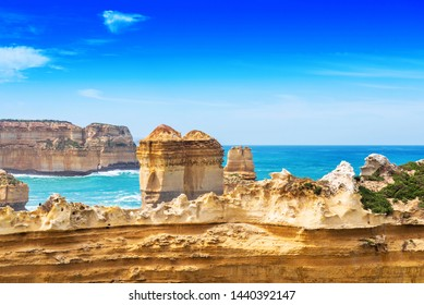 The Razorback rock in Port Campbell National Park, Victoria, Australia. Copy space for text
