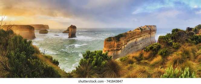 Razorblade cut off limestone rock of Great Ocean road twelve apostles marine park in Victoria. Colourful sunrise over apostles coast.