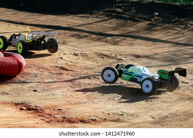 rc model racing car during rally race