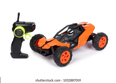 RC model rally, off road buggy with remote control. Isolated on white background, joy and fun sport.