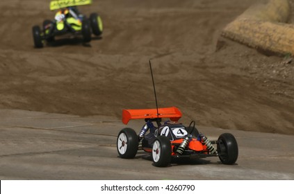 RC toy car in a rally championship race
