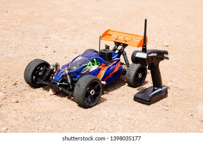 rc toy car rally on dirt track