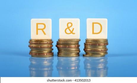R&D (Research & Development), business/finance conceptual.