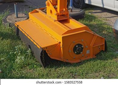 Reach flail boom mower machine attachment
