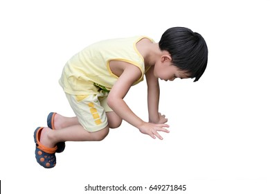 ?Boy reach for grab isolated on white background