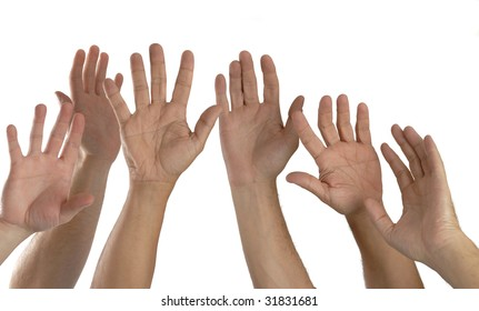 reaching hands,