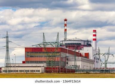 Reactor of nuclear power plant Temelin in Czech Republic.Cloudy sky.
