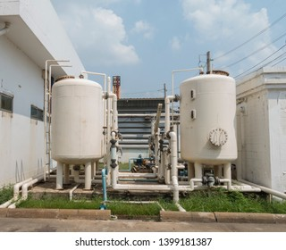 reactor tanks  with beautiful blue sky and white cloud , Nitrogen reactor tank in factory.
