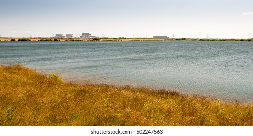 The reactor and turbine halls of the Dungeness nuclear power stations rise from the wetland landscape of Romney Marsh on the south Kent coast.