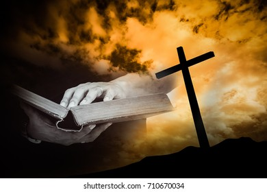 read bible with cross background