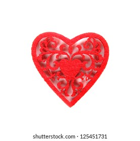 read soft decorative heart isolated on white