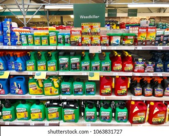 READING, BERKSHIRE - APRIL 7, 2018: Weedkiller products on sale at Dobbies Garden Centre in Reading, Berkshire, UK.