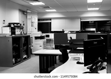 Reading, Berkshire, England - July 31, 2018: monochrome business office interior with computer workstations
