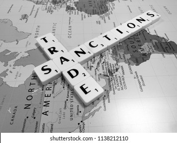 Reading, Berkshire, England - June 05, 2018, monochrome representation of trade sanctions imposed by the United States of America on steel and aluminium imports
