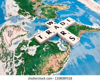 Reading, Berkshire, England - June 06, 2018, representation of world trade war initiated by United States of America import tariffs on steel and aluminium