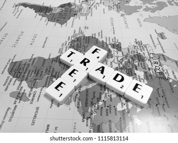 Reading, Berkshire, England - June 13, 2018, monochrome representation of free trade, international trade left to its natural course without tariffs, quotas, or other restrictions