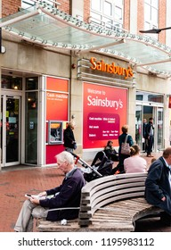 Reading- Berkshire, England - October 05, 2018: Sainsbury's Local Supermarket Logo Sign, Sainsbury's supermarket or convenience store was founded in 1869 in London.