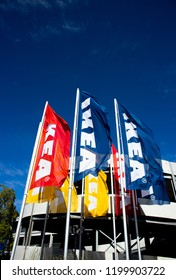 Reading, Berkshire, England - September 24, 2017: IKEA flags outside store, Scandinavian retail chain selling ready to assemble furniture founded in 1943 by Ingvar Kamprad