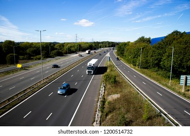 Reading, Berkshire, England - September 24, 2018: M4 motorway at junction 12, road run between London and Wales and is the busiest in Europe and known as the m4 corridor