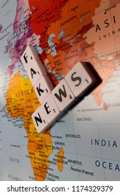 Reading, Berkshire, England - September 7, 2018, representation of fake news, journalism or propaganda that consists of deliberate misinformation or hoaxes