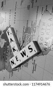 Reading, Berkshire, England - September 7, 2018, monochrome representation of fake news, journalism or propaganda that consists of deliberate misinformation or hoaxes