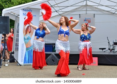 Reading, Berkshire / England UK - July 13th 2019: Dance entertainment at a French Bastille Day Festival celebration in the town of Reading in Berkshire England