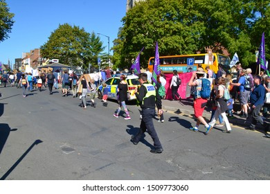 Reading, Berkshire / England UK - September 20th 2019: Climate change protest. Police presence at the strike and march in Reading Berkshire.